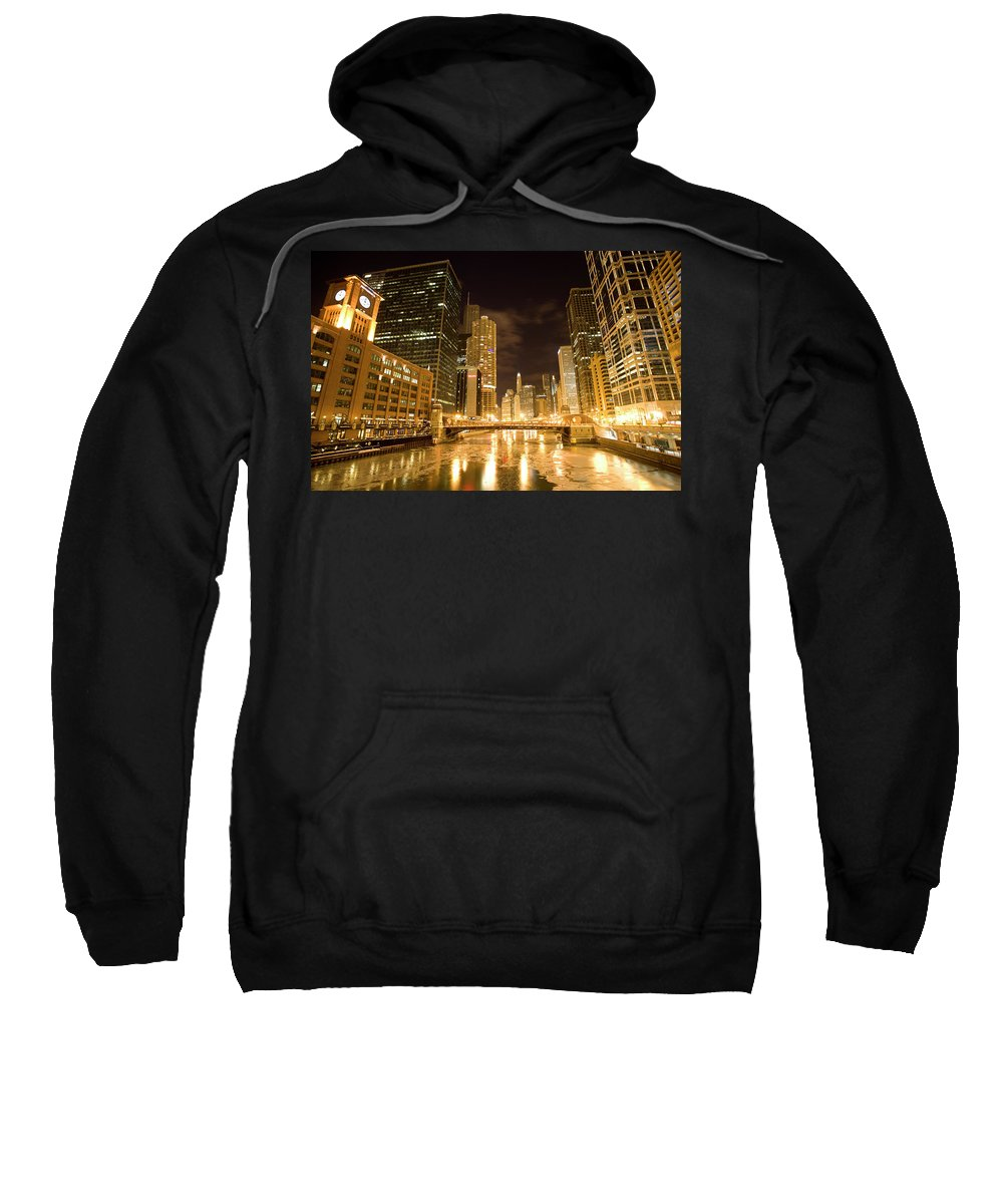 Chicago Sweatshirt featuring the digital art Chicago Downtown City Night Photography by Mark Duffy