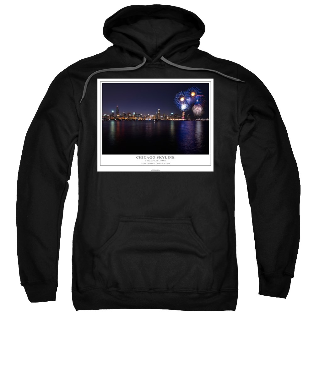 4th Sweatshirt featuring the photograph Chicago Lakefront Skyline Poster by Steve Gadomski