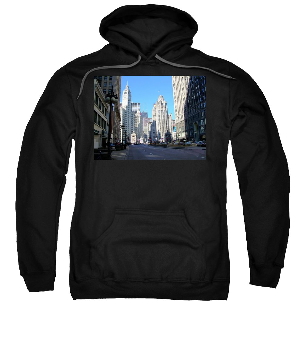 Chicago Sweatshirt featuring the photograph Chicago Miracle Mile by Anita Burgermeister