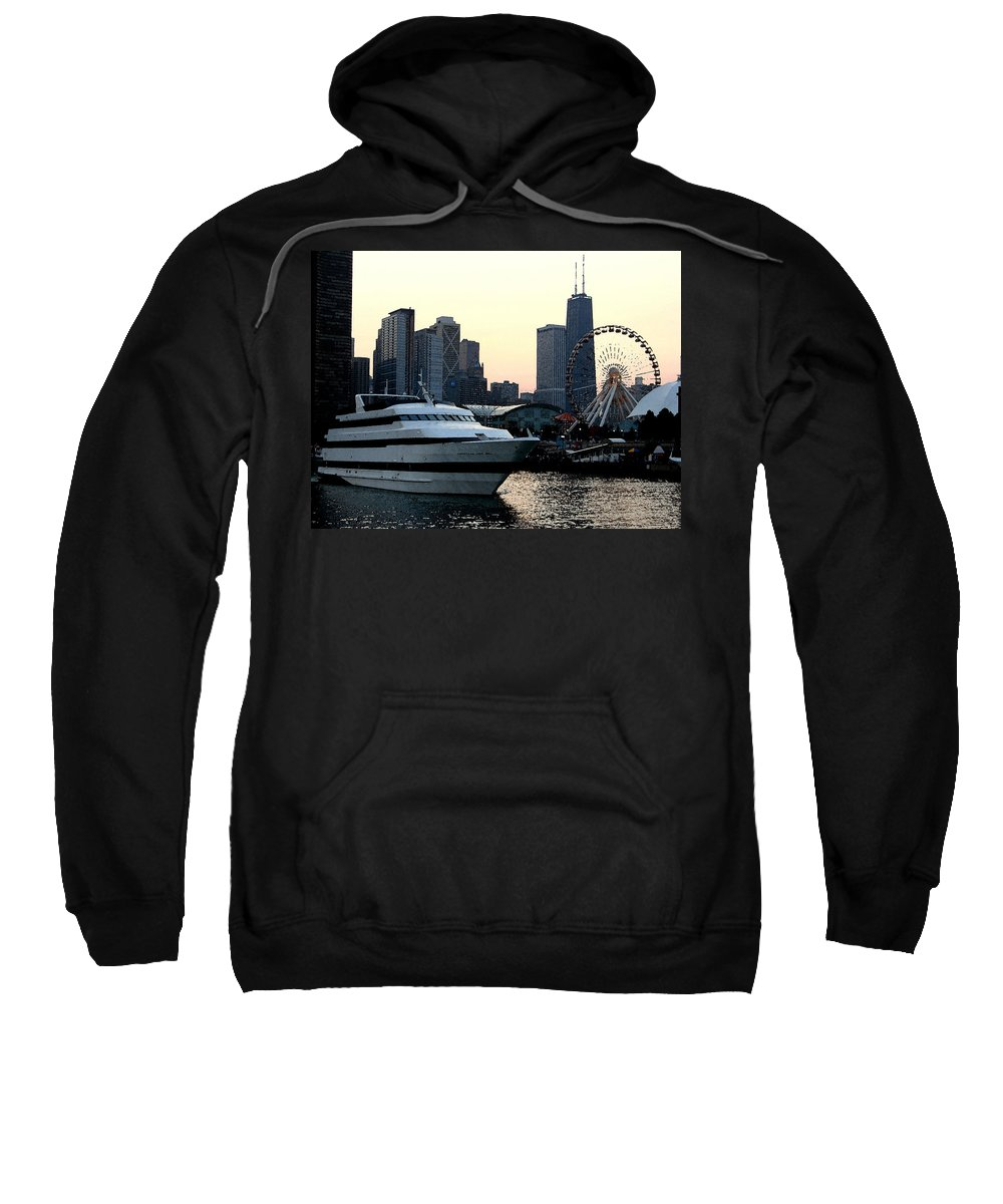 Photo Sweatshirt featuring the photograph Chicago Navy Pier by Glory Fraulein Wolfe