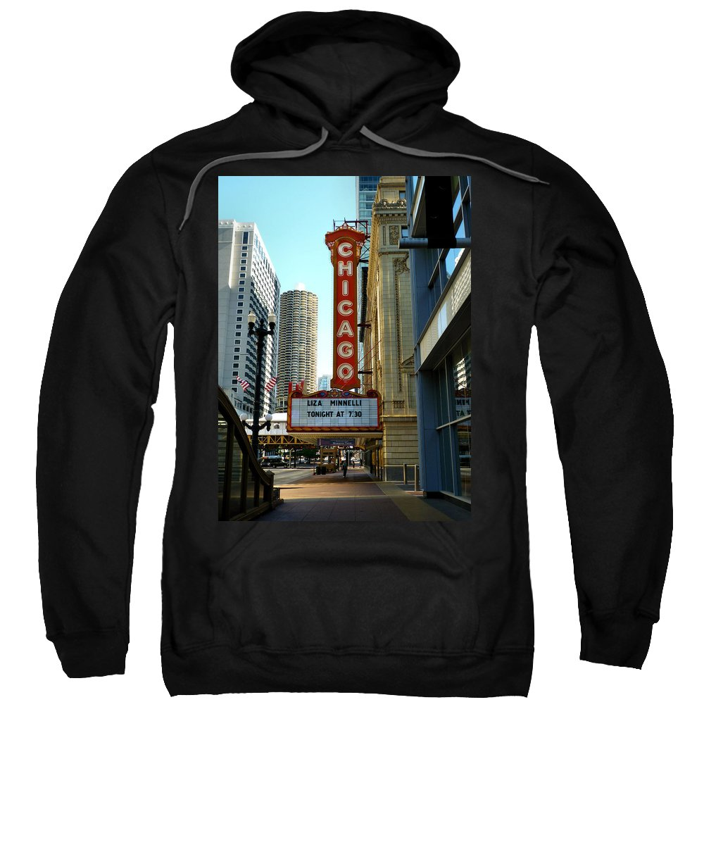 Chicago Theater Marquee Sweatshirt featuring the photograph Chicago Theater - 1 by Ely Arsha