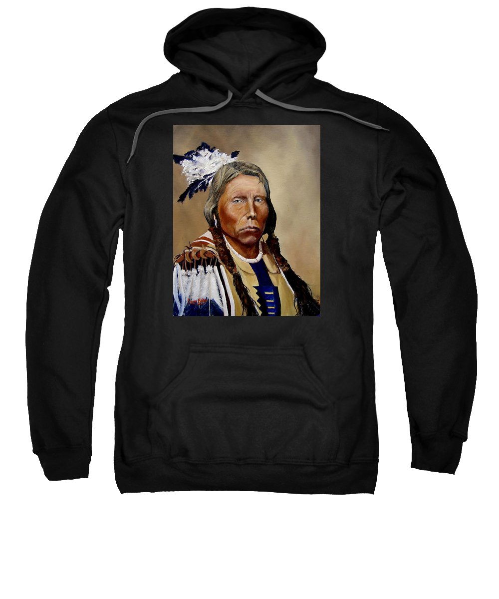 Native American Sweatshirt featuring the painting Chief Crazy Horse by Barry BLAKE