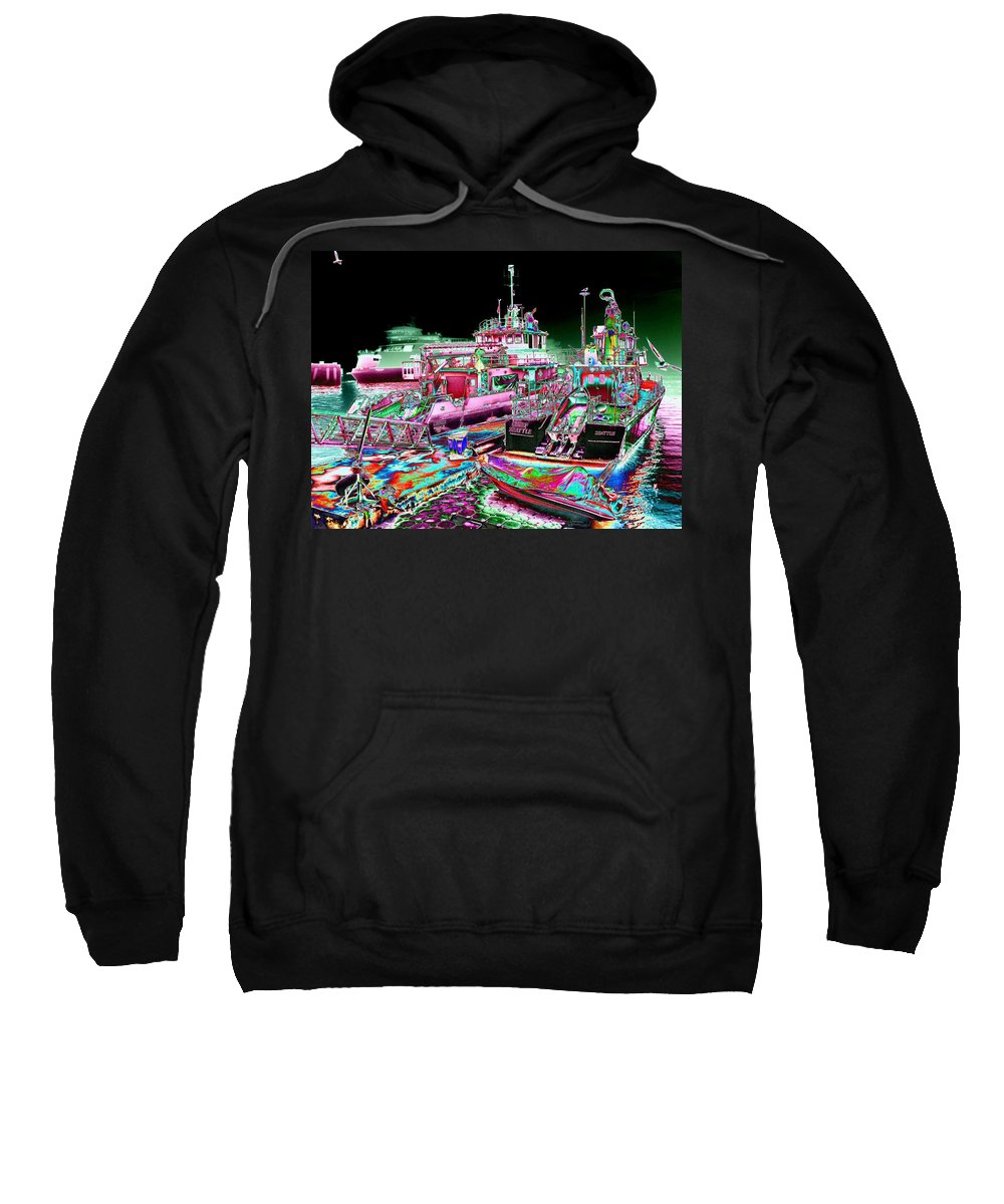 Seattle Sweatshirt featuring the digital art Chief Seattle In The Fog by Tim Allen