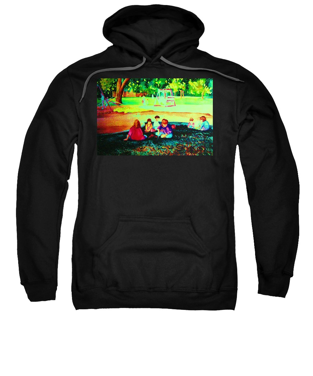 Central Park Sweatshirt featuring the painting Childs Play by Carole Spandau