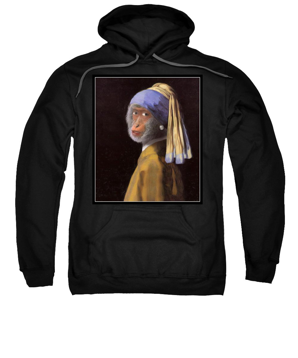Vermeer Sweatshirt featuring the painting Chimp With A Pearl Earring by Gravityx9 Designs