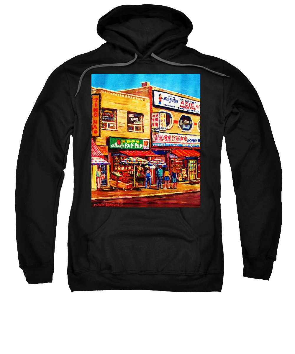Montreal Sweatshirt featuring the painting Chinatown Markets by Carole Spandau