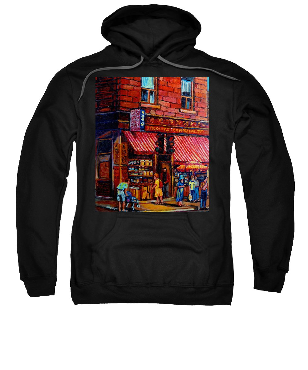 Chinatown Sweatshirt featuring the painting Chinatown Montreal by Carole Spandau