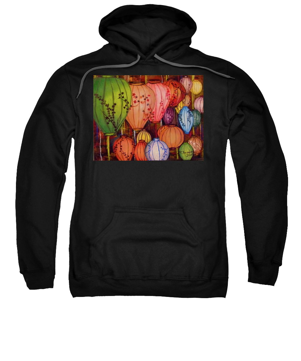 Chinese Sweatshirt featuring the painting Chinese Lantern Festival by Linda Chambers