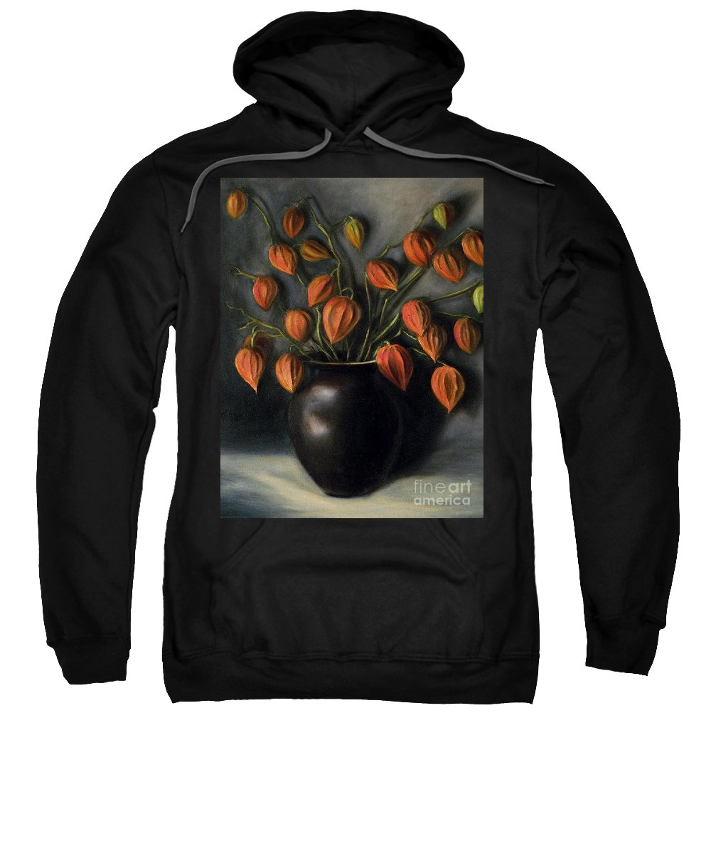 Flowers Sweatshirt featuring the painting Chinese Lanterns by Randy Burns