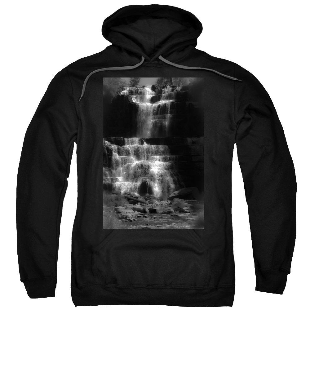Chittenango Falls Sweatshirt featuring the digital art Chittenango Falls Bw by DigiArt Diaries by Vicky B Fuller