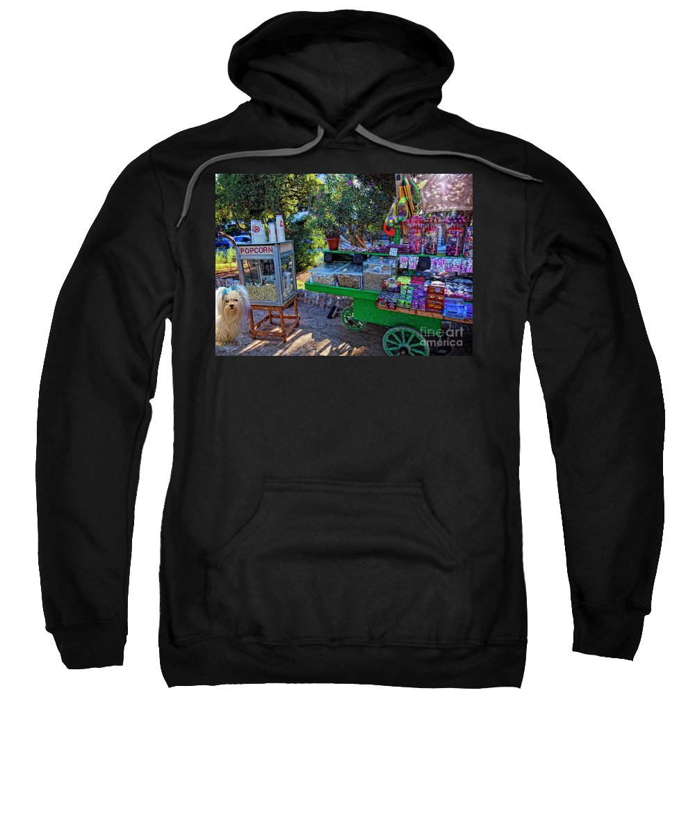 Candy Sweatshirt featuring the photograph Chloe's Popcorn Dream by Madeline Ellis