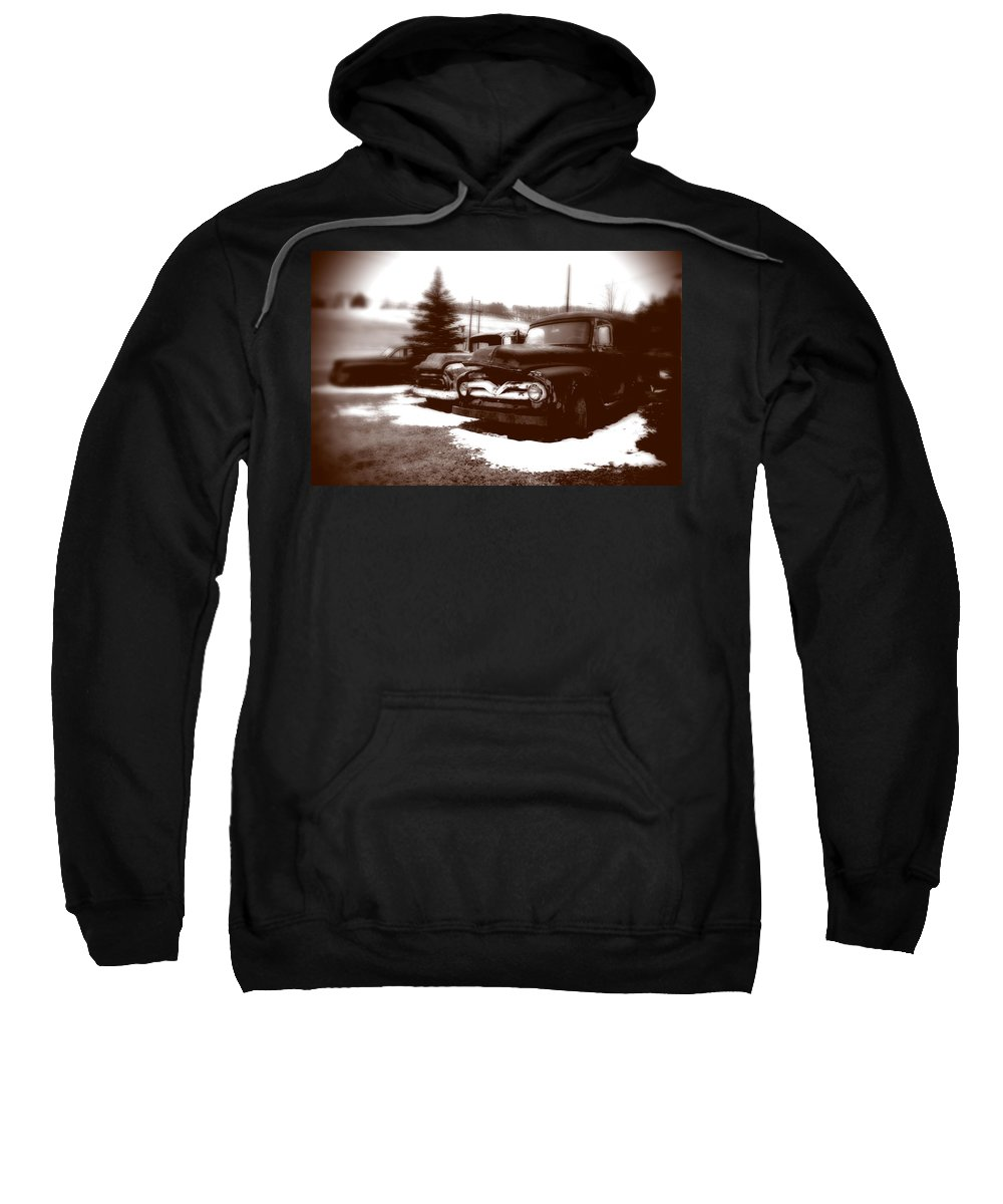 Old Cars Sweatshirt featuring the photograph Chocolate Ghosts by Jean Macaluso
