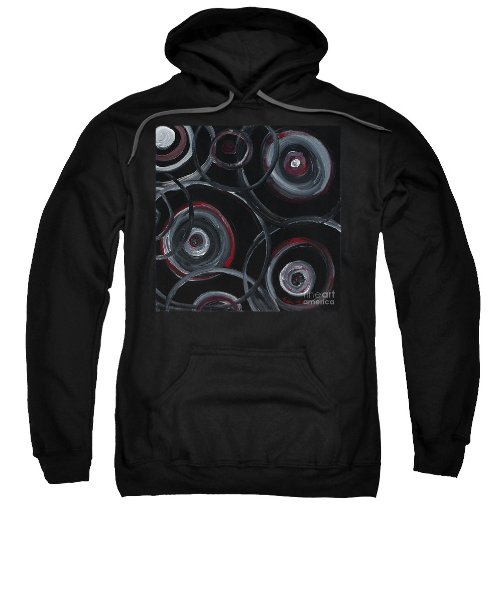 Circles Sweatshirt featuring the painting Choices In Black by Nadine Rippelmeyer