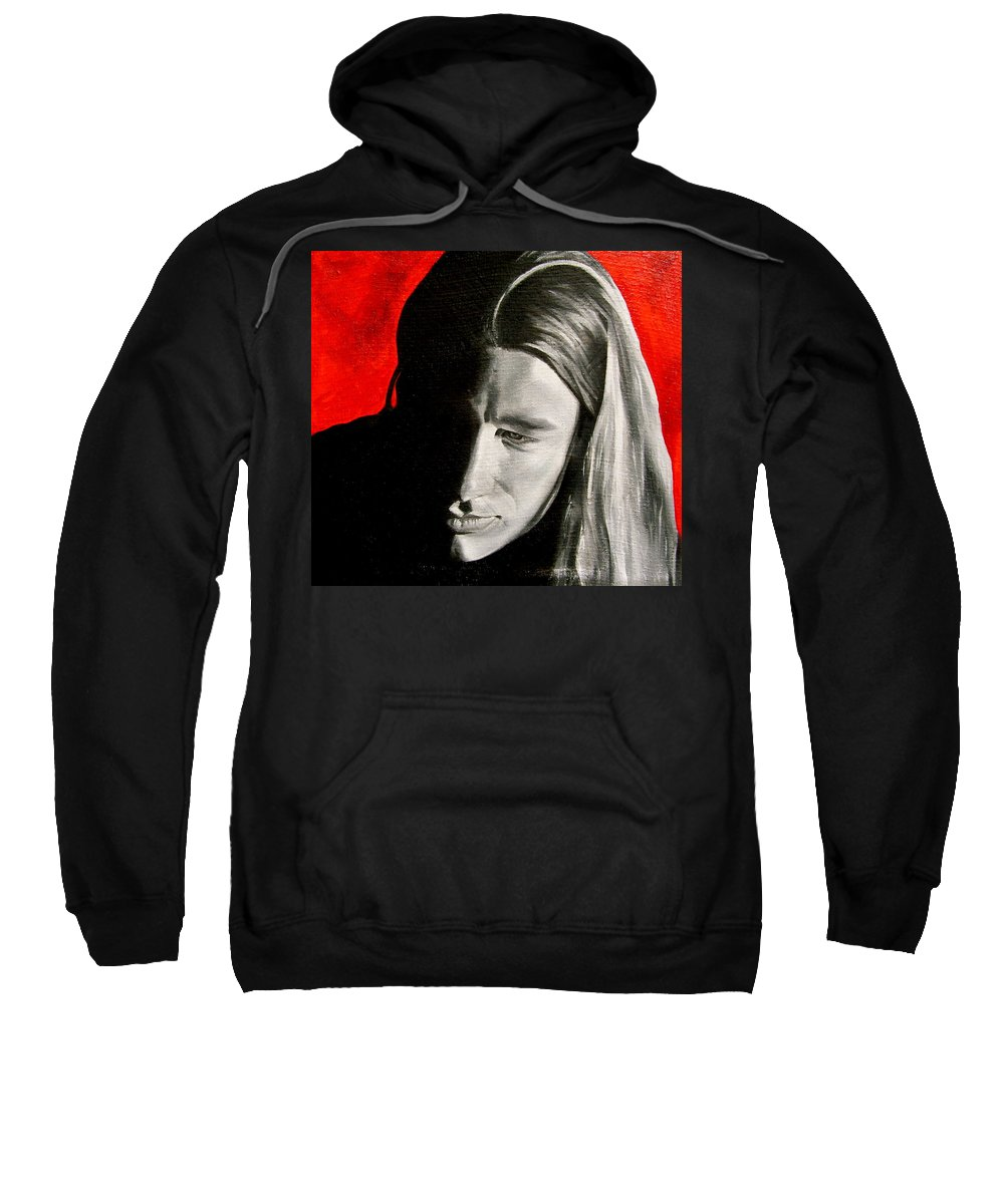 Portraiture Sweatshirt featuring the painting Chris 2 by Laura Pierre-Louis