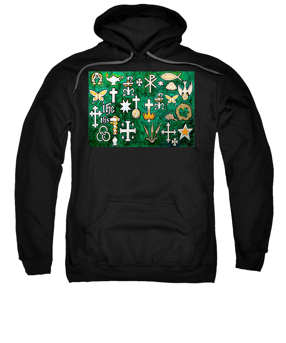 Chrismons Sweatshirt featuring the greeting card Chrismons by Kevin Middleton