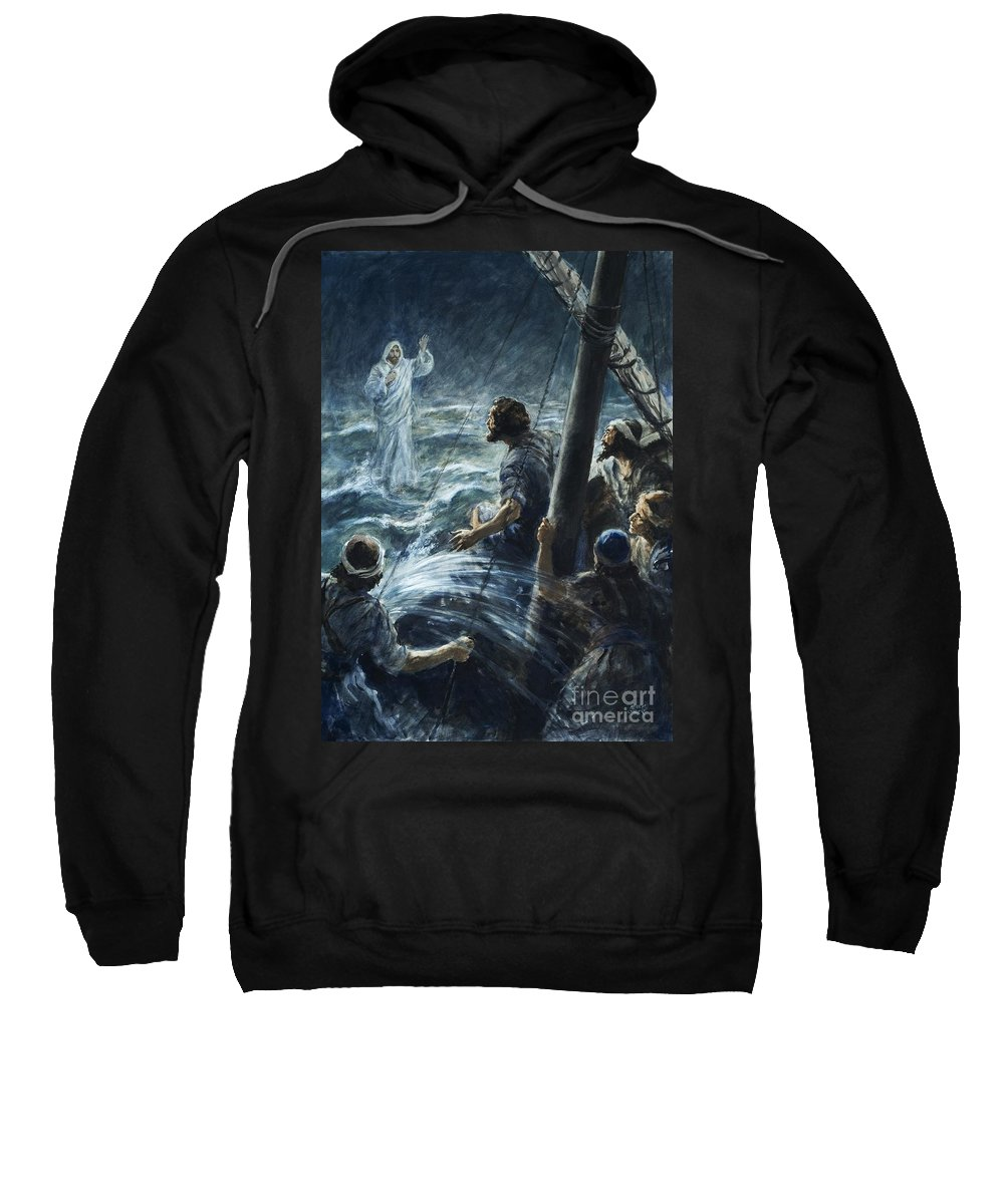 Christ; Jesus; Sea Of Galilee; Walking On Water; The Bible; Sailors; Thee Of Little Faith; Lightning; Storm; Water Sweatshirt featuring the painting Christ Walking On The Sea Of Galilee by Henry Coller