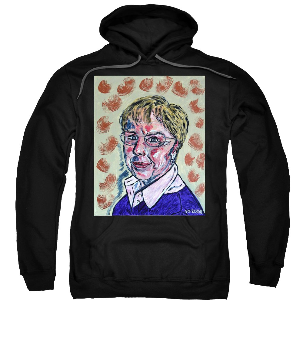 Portrait Sweatshirt featuring the painting Christl by Valerie Ornstein
