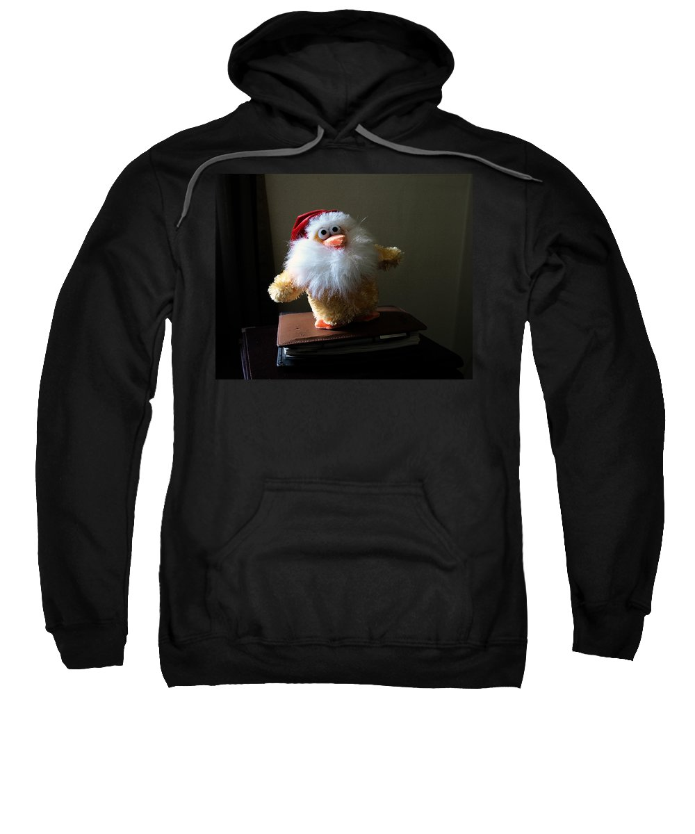 Chicken; Leftover; Appeal; Mercy; Bird; Fowl; Meal; Eat; Food; Pathos; Stuffed; Animal; Plead; Compa Sweatshirt featuring the photograph Christmas Chicken by Allan Hughes