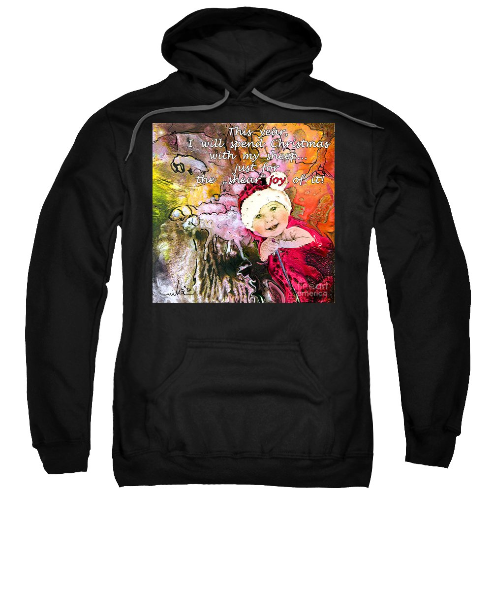 Acrylics Sweatshirt featuring the painting Christmas With My Sheep by Miki De Goodaboom