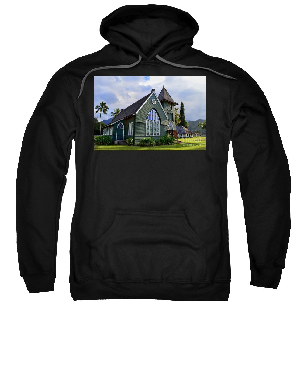 Hanalei Church Sweatshirt featuring the photograph Church In Hanalei Kauai by Catherine Sherman