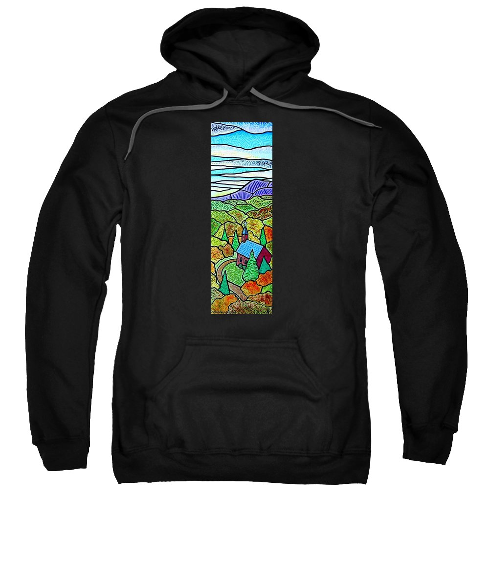 Church Sweatshirt featuring the painting Church In The Wildwood by Jim Harris