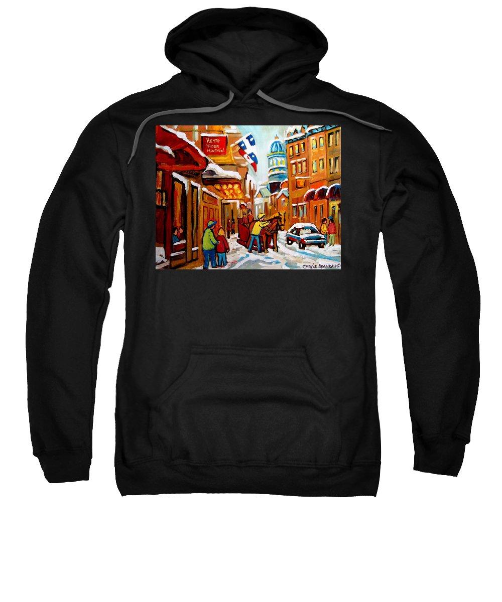 Church Steeet In Winter Sweatshirt featuring the painting Church Street In Winter by Carole Spandau