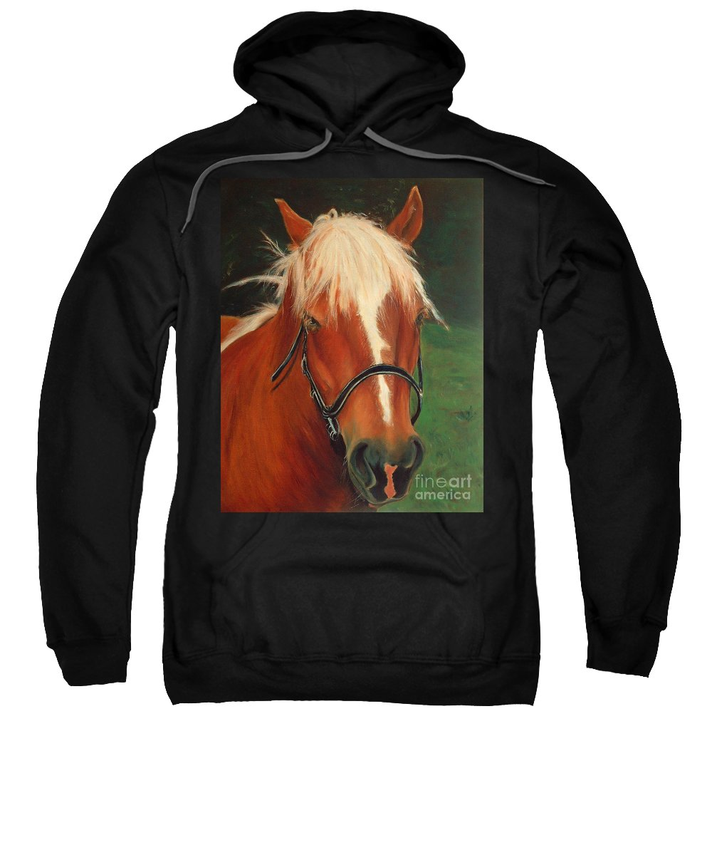 Euqestrian Art Sweatshirt featuring the painting Cinnamon The Horse by Portraits By NC