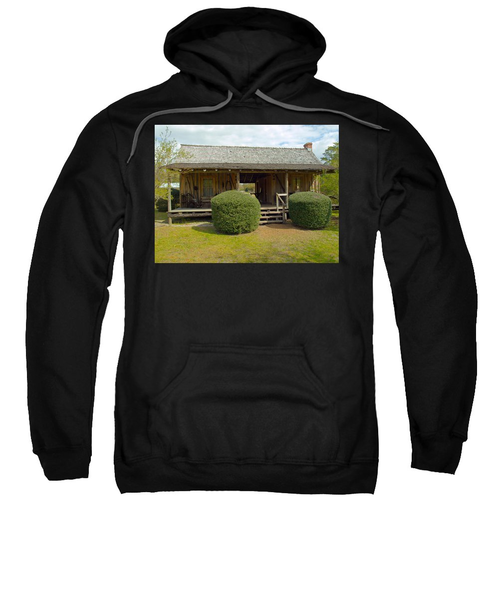 Cabin Sweatshirt featuring the photograph Circa 1900 Dogtrot Cabin Of Ephriam Brown From Lake Mills Florida by Allan Hughes