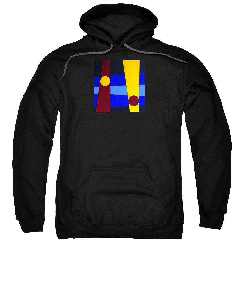 Abstract Sweatshirt featuring the painting Circles Lines Color by J R Seymour