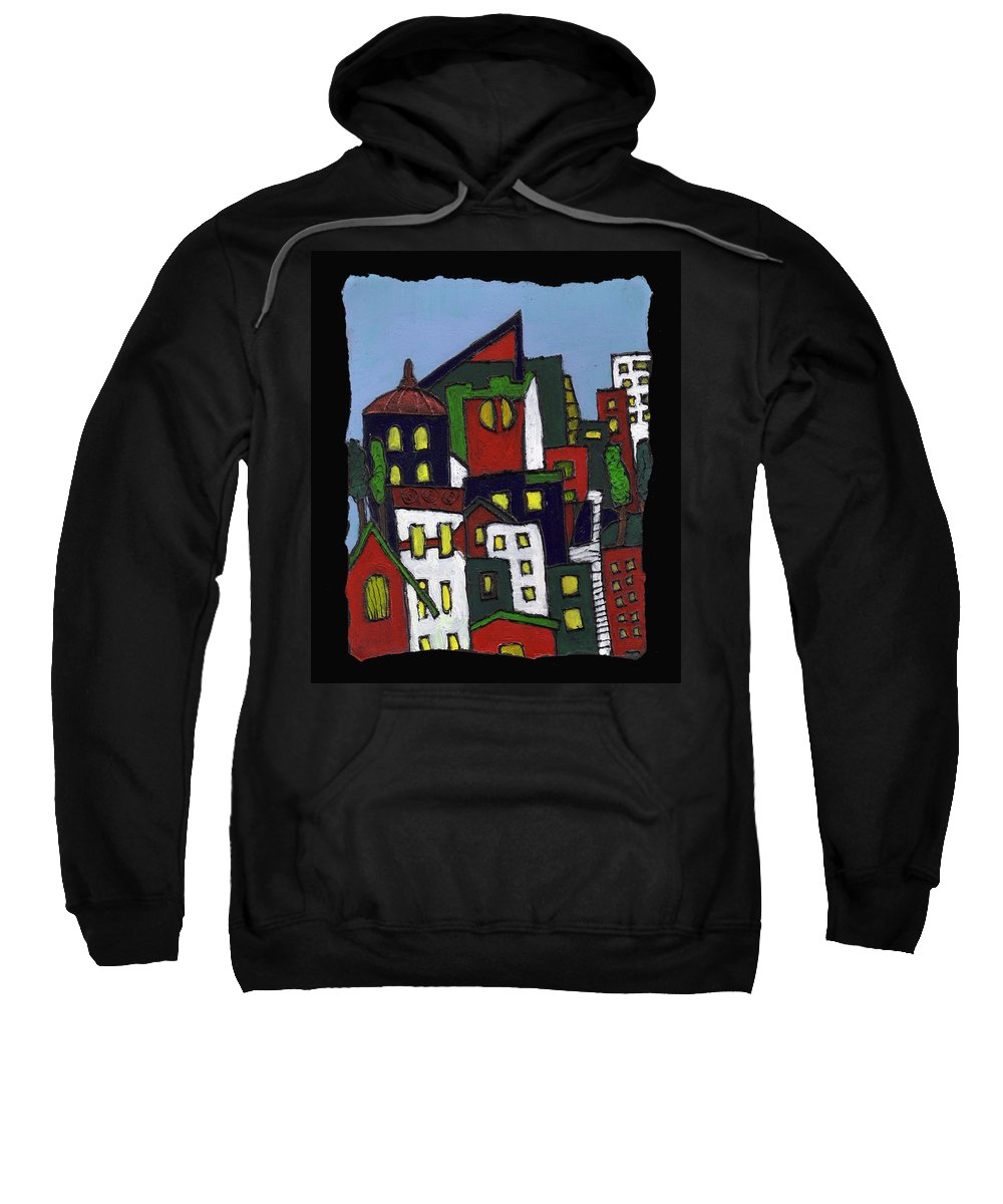 City Sweatshirt featuring the painting City At Christmas by Wayne Potrafka