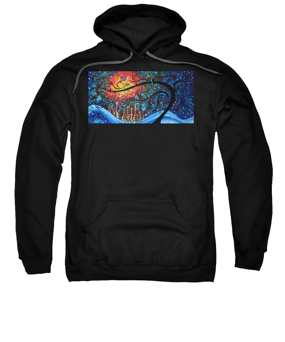 Art Sweatshirt featuring the painting City By The Sea By Madart by Megan Duncanson