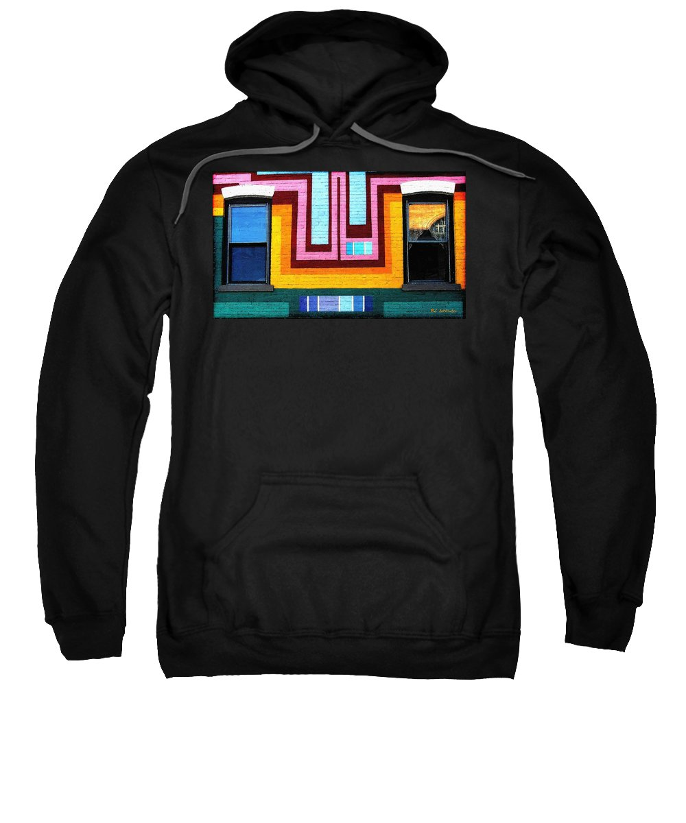 Architecture Sweatshirt featuring the painting City Eyes by RC DeWinter