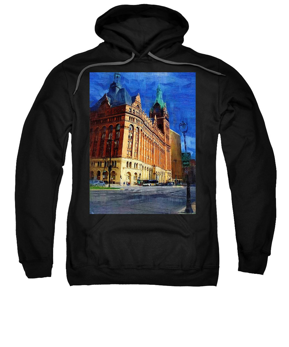 Architecture Sweatshirt featuring the digital art City Hall And Lamp Post by Anita Burgermeister
