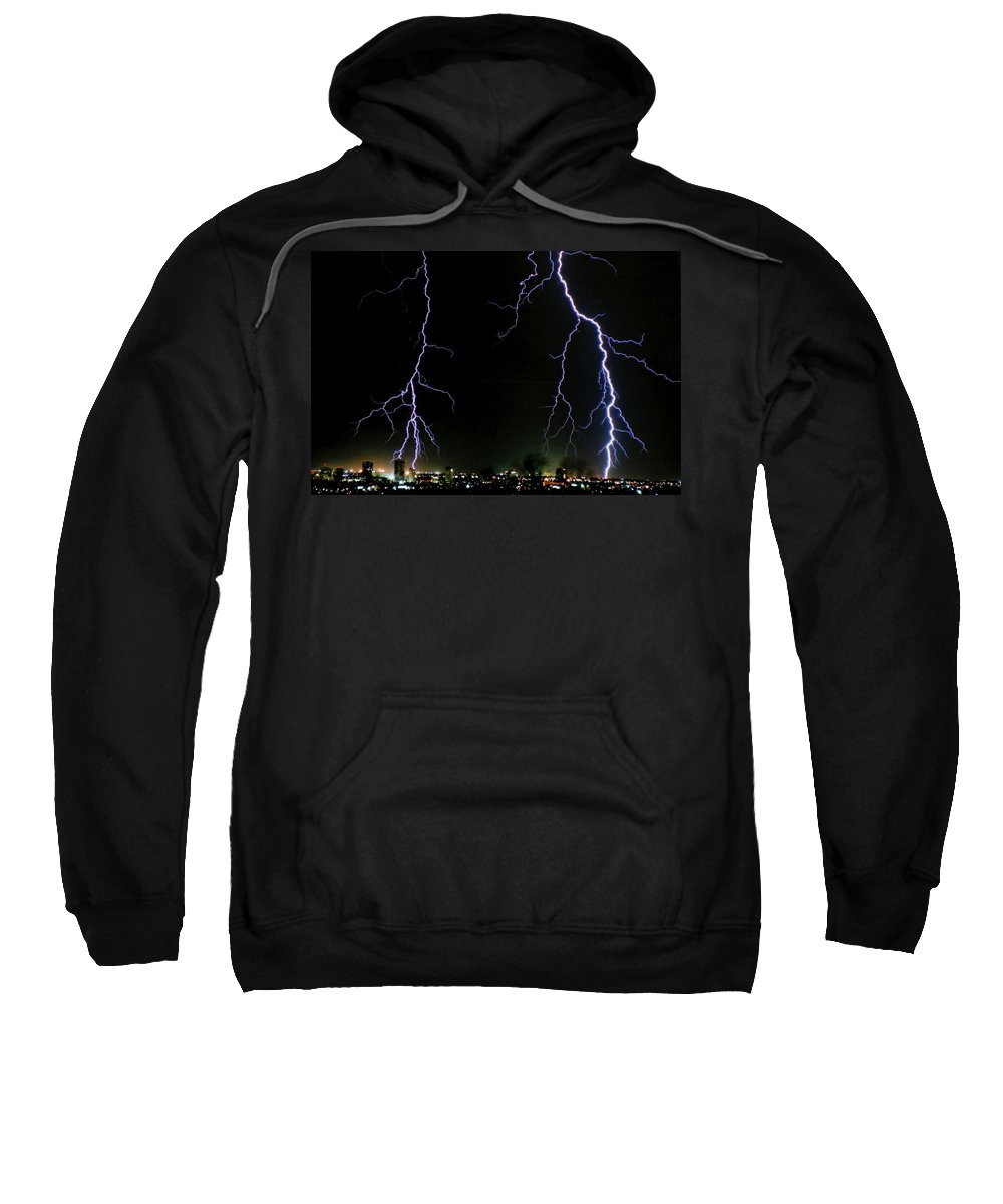 Arizona Sweatshirt featuring the photograph City Lights by Cathy Franklin