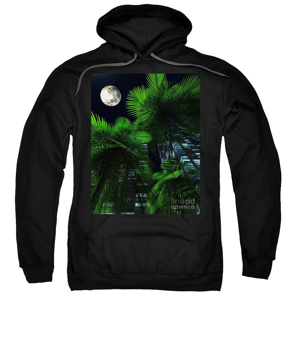 Tropics Sweatshirt featuring the digital art City Nights by Richard Rizzo