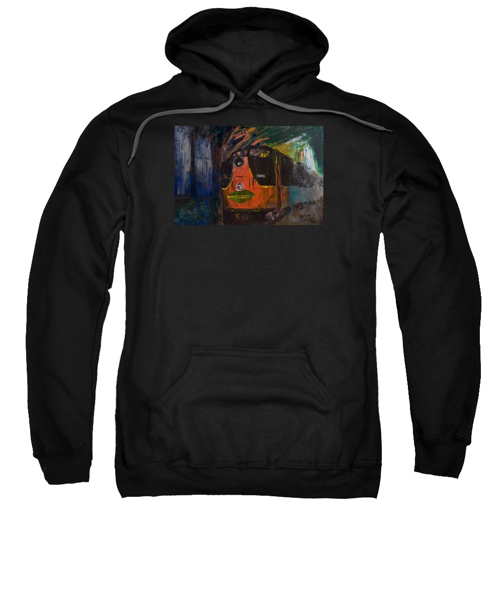 Train Sweatshirt featuring the painting City Of New Orleans by David McGhee