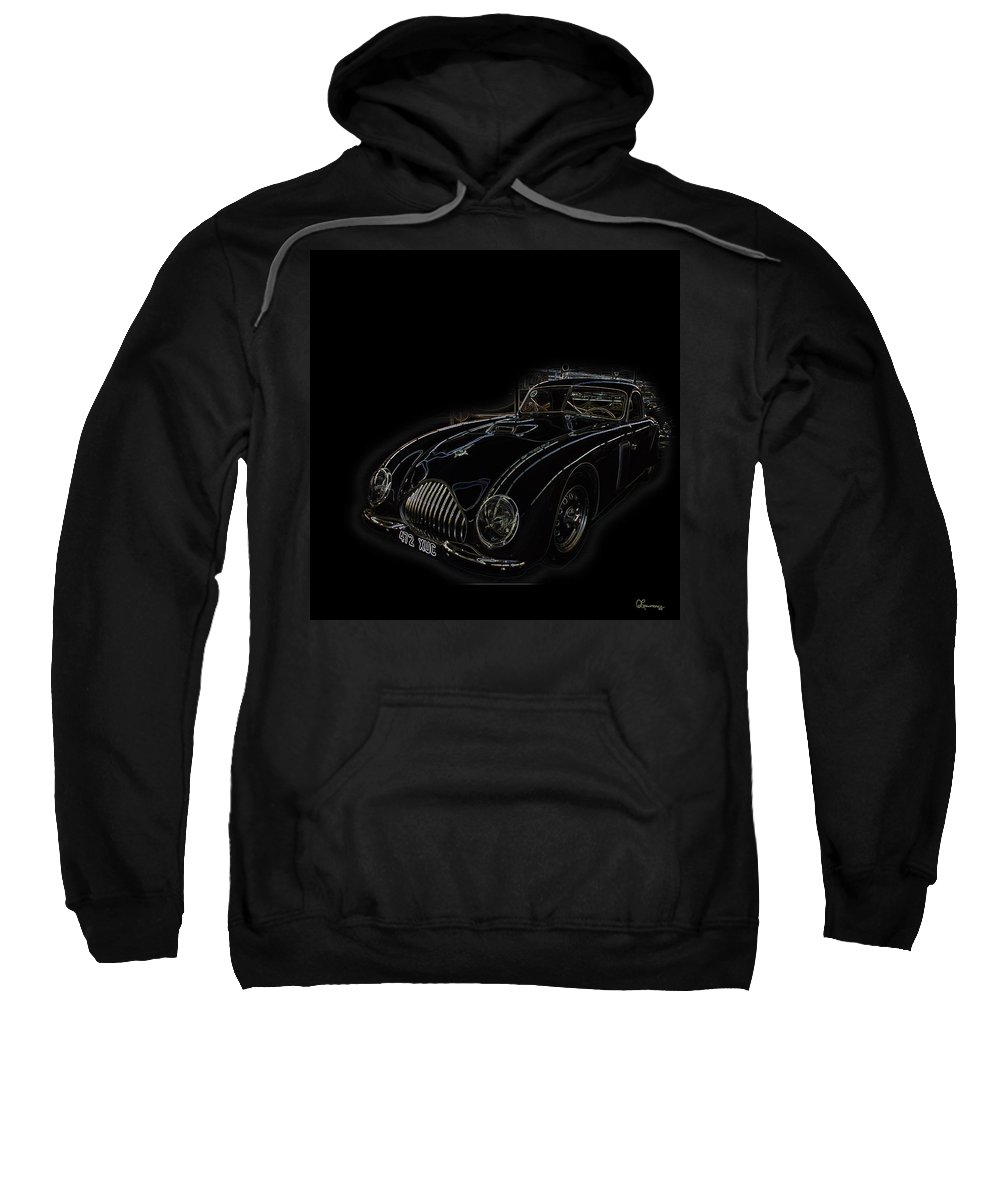 Classic Car Antique Show Room Vehicle Glowing Edge Black Light Chevy Dodge Ford Ride Sweatshirt featuring the photograph Classic 2 by Andrea Lawrence