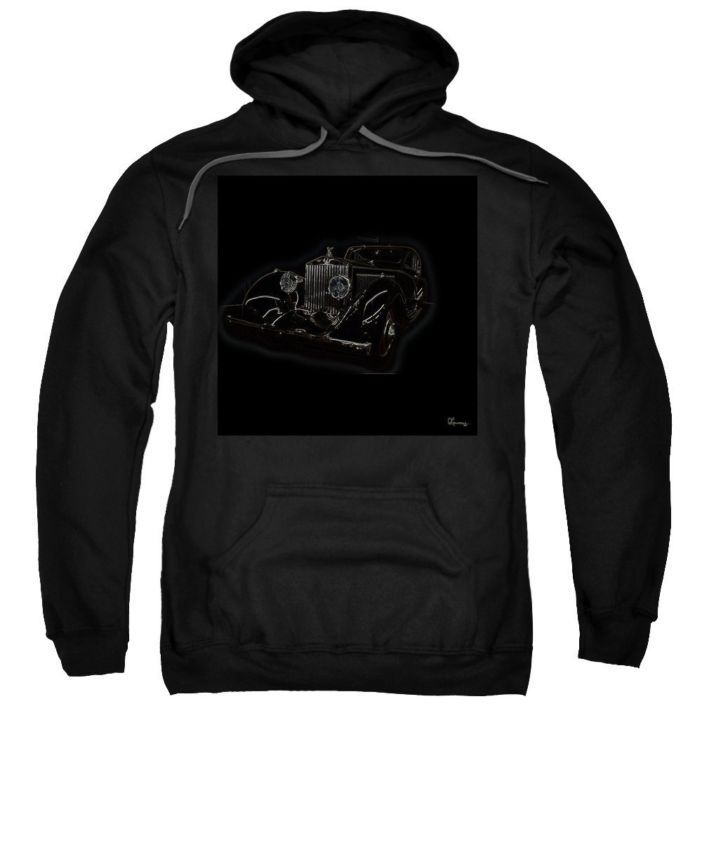 Classic Car Antique Show Room Vehicle Glowing Edge Black Light Chevy Dodge Ford Ride Sweatshirt featuring the photograph Classic 3 by Andrea Lawrence