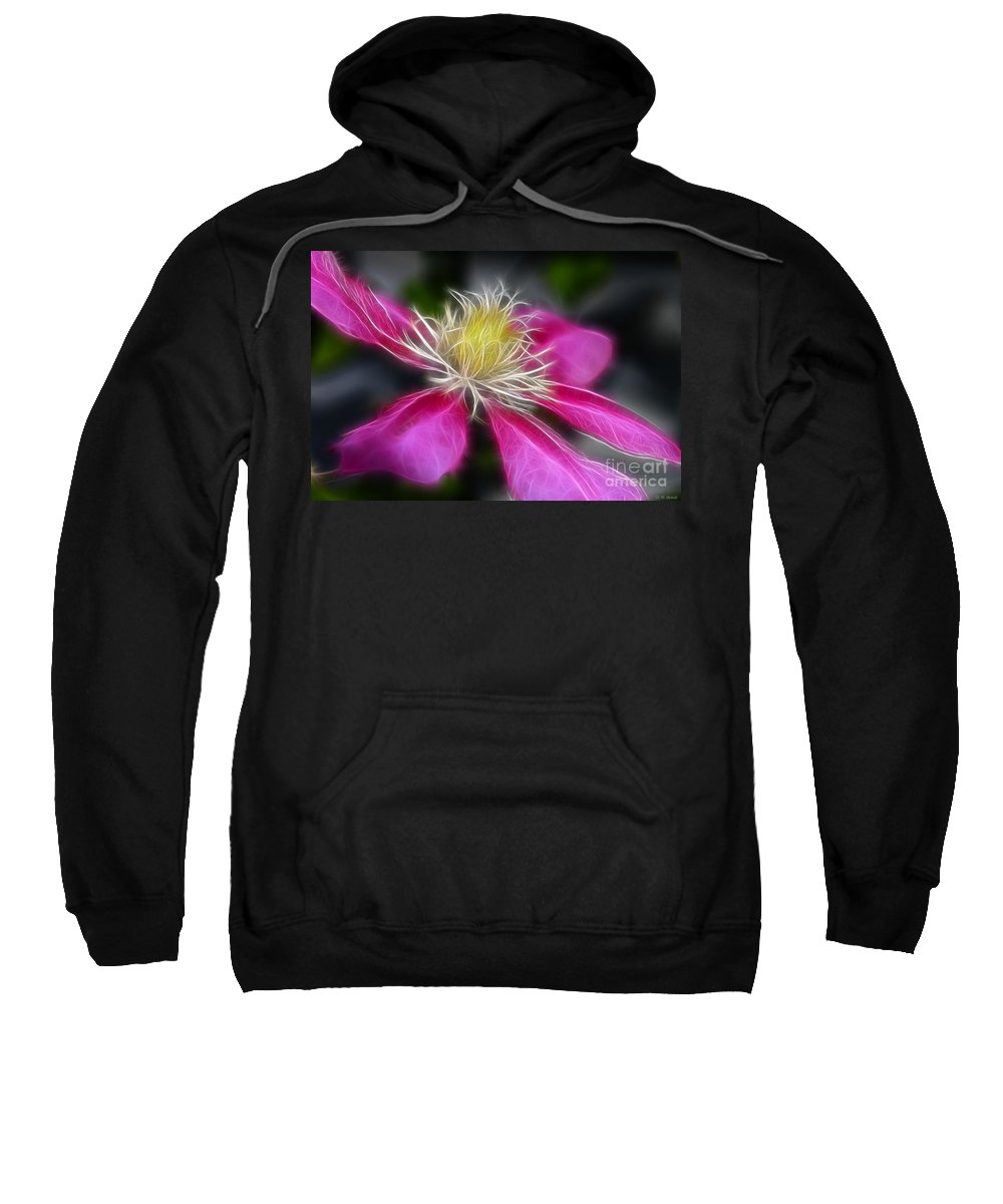 Flower Sweatshirt featuring the photograph Clematis In Pink by Deborah Benoit