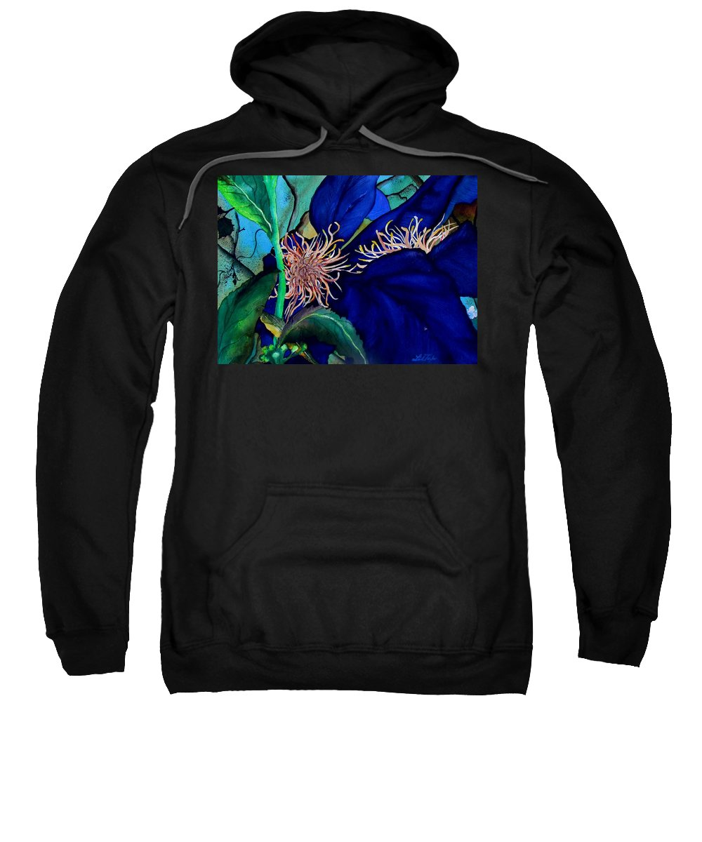 Lil Taylor Sweatshirt featuring the painting Clematis Regal In Purple And Blue Sold by Lil Taylor
