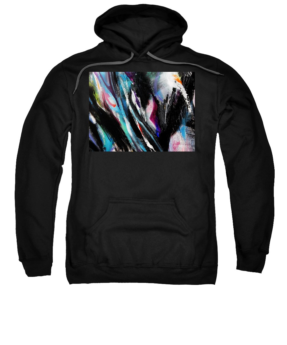 Abstract Vertical Ridges Of Color Dominated By Black.painting Detail Sweatshirt featuring the painting Climb by Expressionistart studio Priscilla Batzell