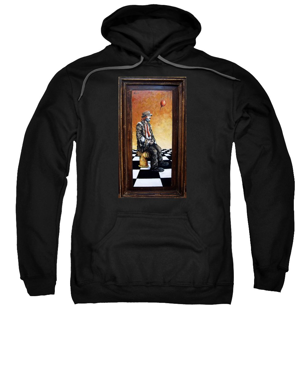 Clown Man Figurative Figure Human Surrealism Chess Emotion Sweatshirt featuring the painting Clown S Melancholy by Natalia Tejera