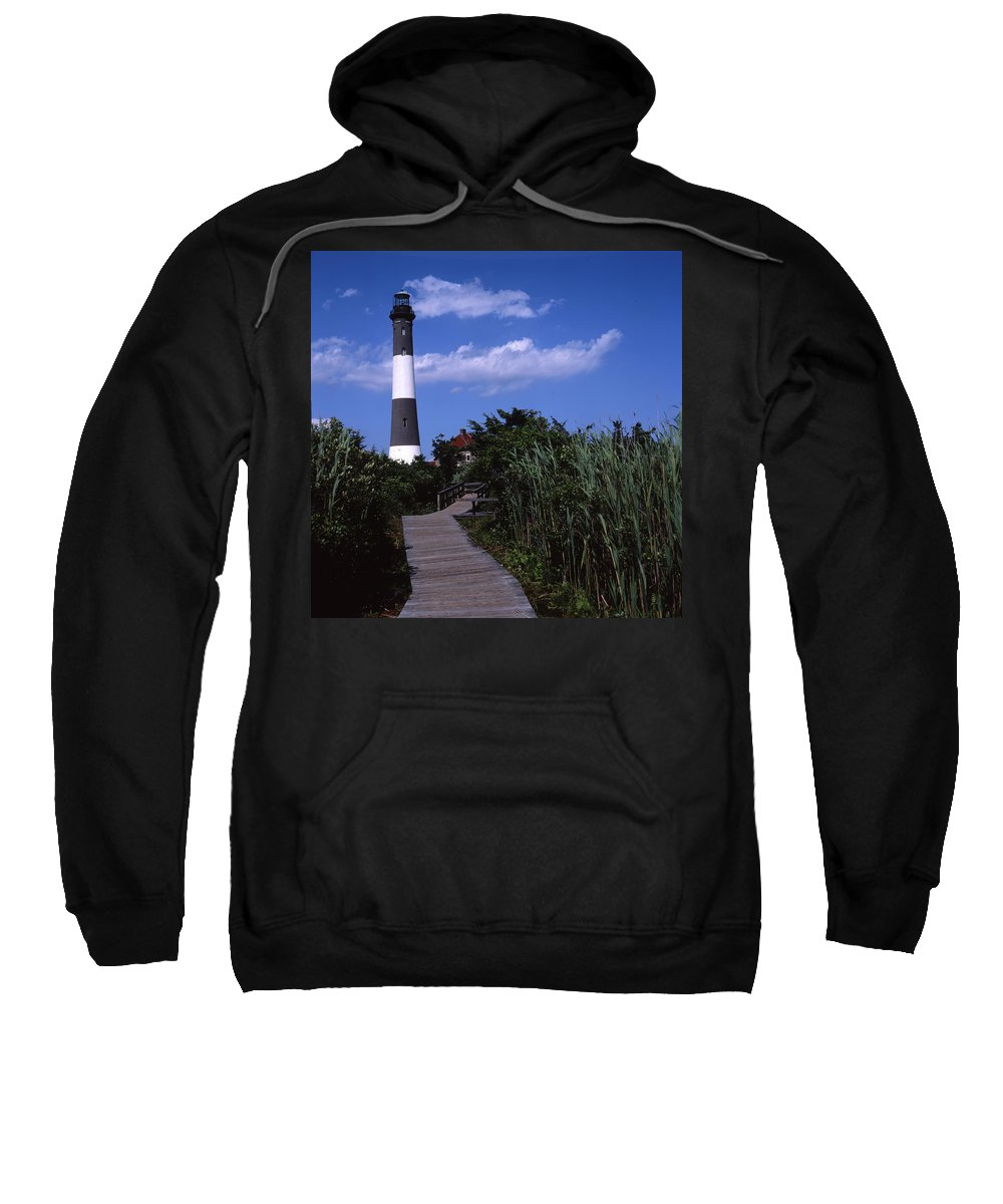 Landscape Lighthouse Fire Island Sweatshirt featuring the photograph Cnrf0702 by Henry Butz