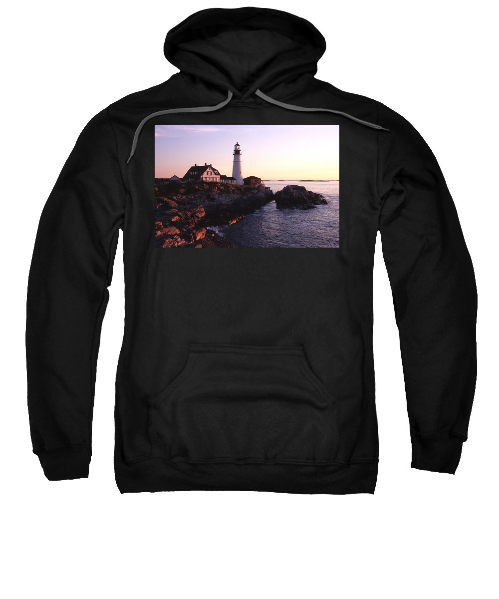 Landscape Lighthouse Nautical New England Portland Head Light Cape Elizabeth Sweatshirt featuring the photograph Cnrf0904 by Henry Butz