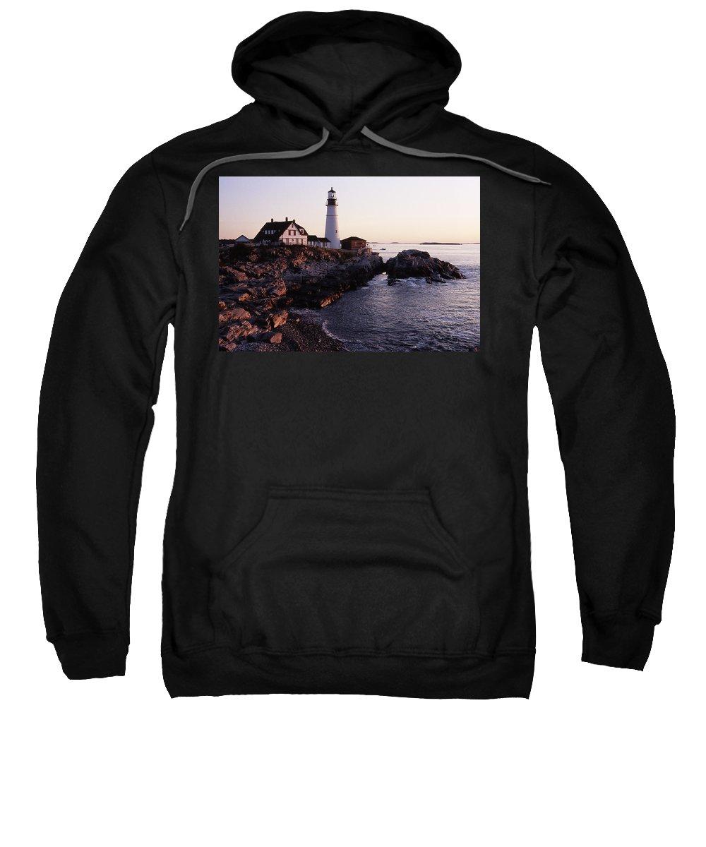 Landscape Lighthouse Nautical New England Portland Head Light Cape Elizabeth Sweatshirt featuring the photograph Cnrf0905 by Henry Butz