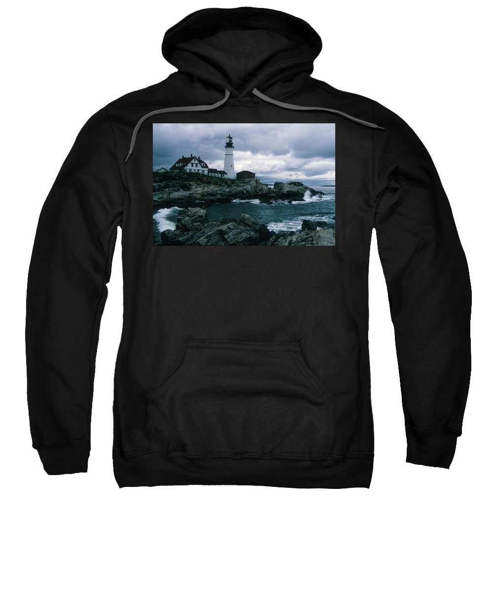 Landscape New England Lighthouse Nautical Storm Coast Sweatshirt featuring the photograph Cnrg0601 by Henry Butz