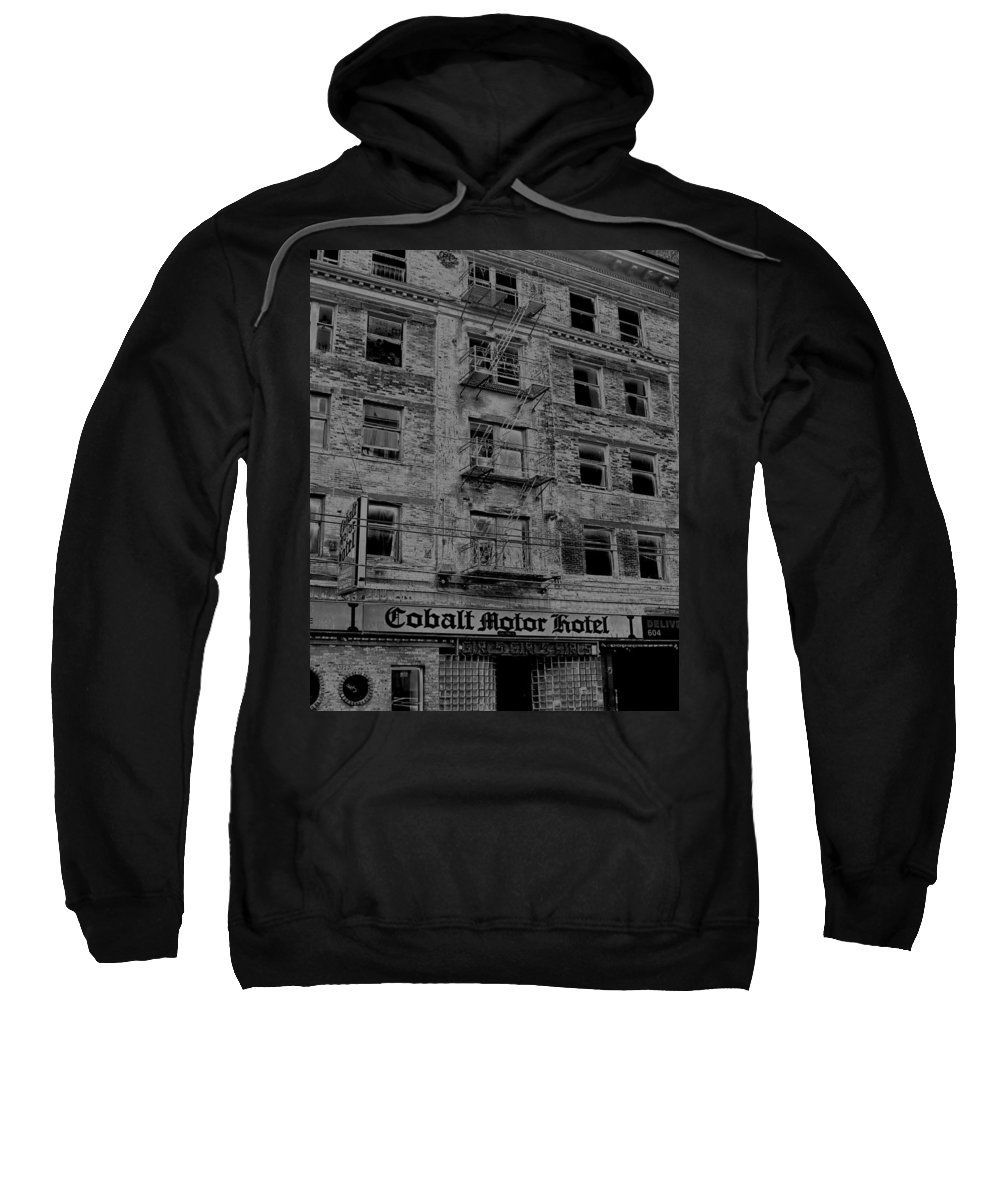 Cobalt Sweatshirt featuring the photograph Cobalt Motor Hotel by Sheryl R Smith