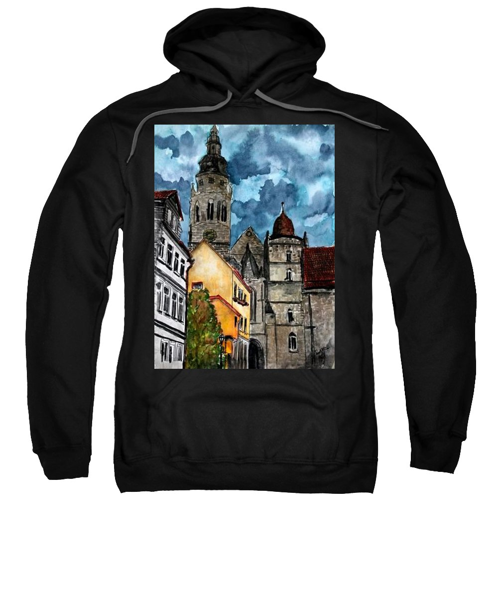 Germany Sweatshirt featuring the painting Coburg Germany Castle Painting Art Print by Derek Mccrea