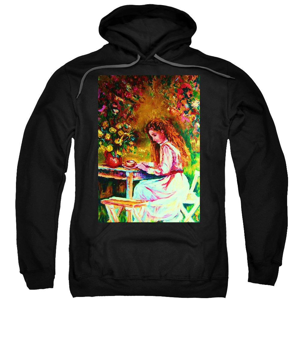 Impressionism Sweatshirt featuring the painting Coffee In The Garden by Carole Spandau