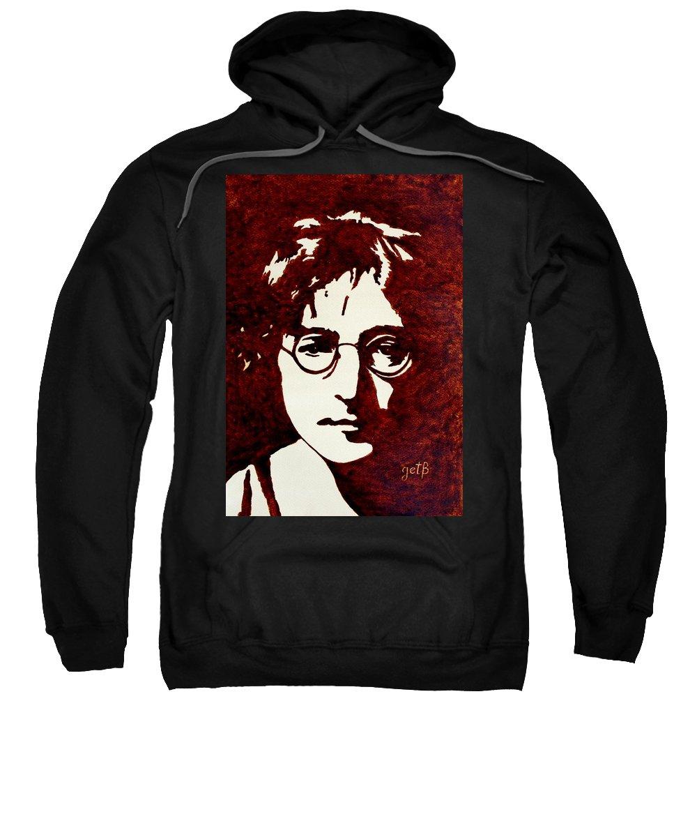 John Lennon Painting With Pop Art Sweatshirt featuring the painting Coffee Painting John Lennon by Georgeta Blanaru